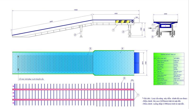 thiết kế cầu xe nâng lên container