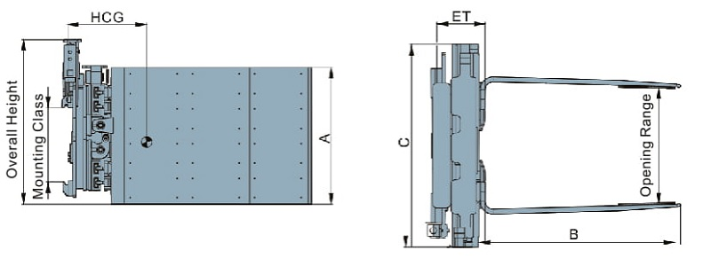 Revoling ( side-shift) Tobacco carton clamps