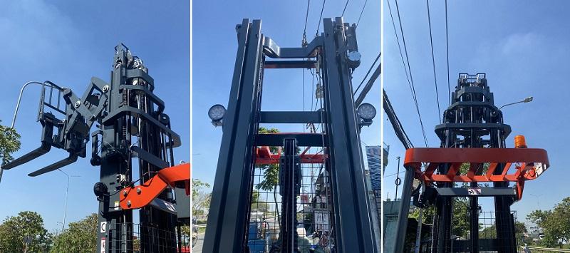 khung nâng xe nâng điện reach truck đứng lái heli