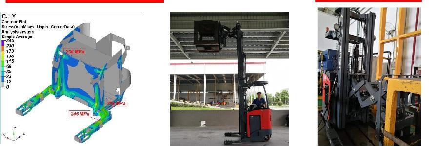 thử tải xe nâng reach truck càng kéo đẩy