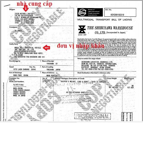 chứng nhận nhập khẩu động cơ isuzu japan